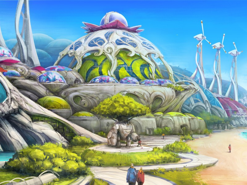 A futuristic city that sits on a shoreline. Domed buildings line the shore with futuristic looking windmills and lots of plant life.